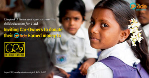 Carpool for a cause - Donate for child education CRY