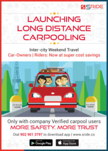 long distance inter city carpool with sRide carpool