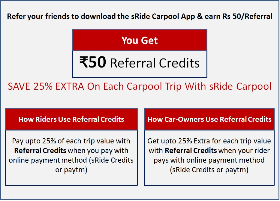 sRide Referral Credits