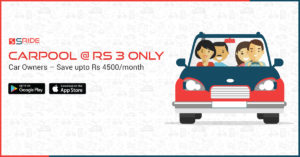 sRide carpool helps you to carpool with friends and colleagues. Helps save you upto Rs 4500 / month